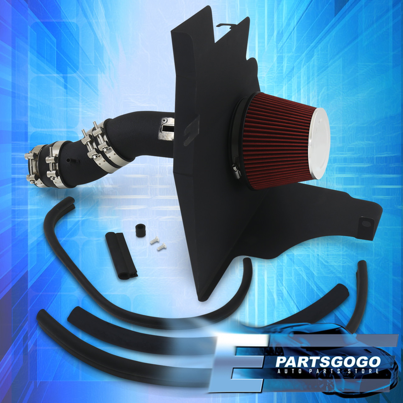 11-14 Fits Ford Mustang V6 St Base 3.7L 3.7 Black Piping Cold Air Intake Kit