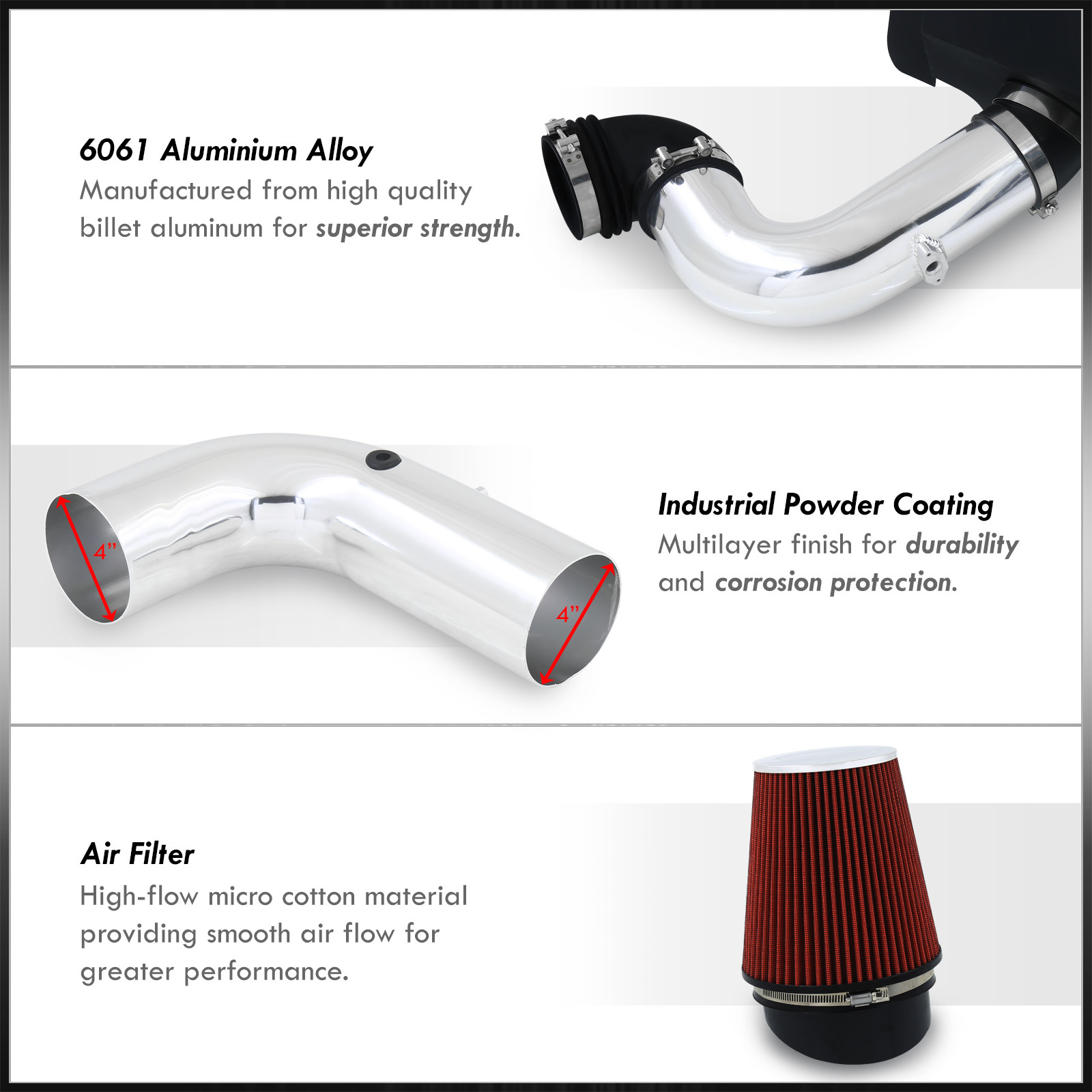 For 2003-2007 Ram 2500 3500 5.9L L6 Air Intake Induction Heat Shield Chrome Pipe