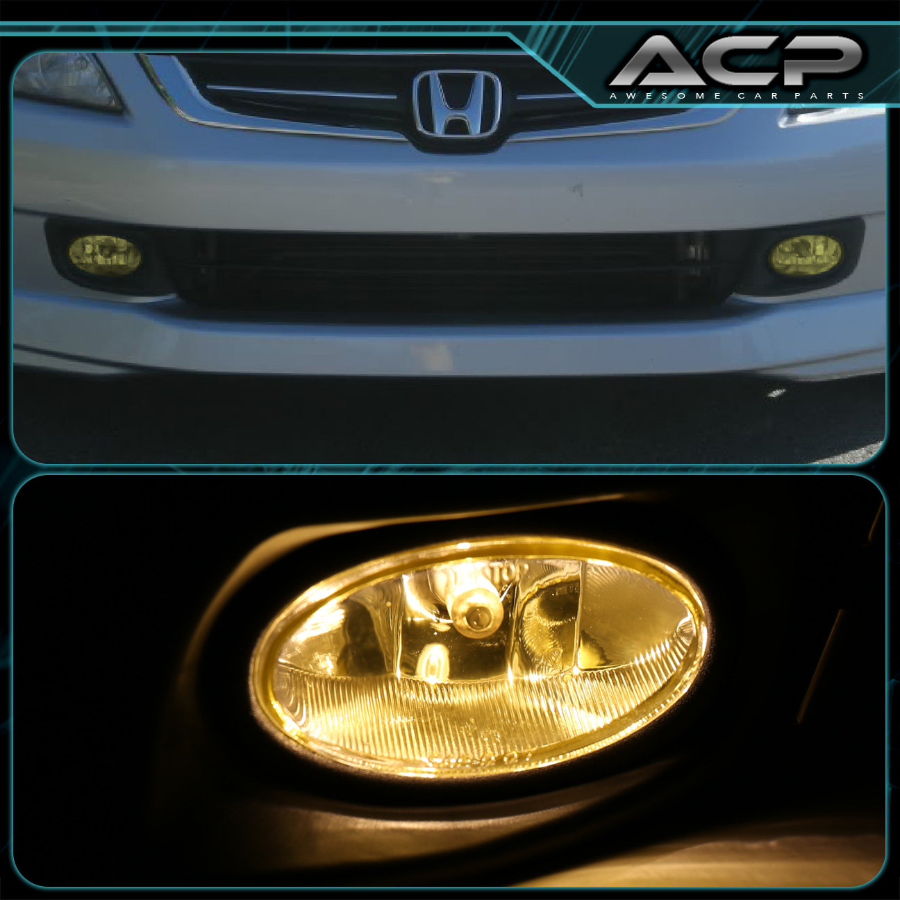 Yellow Lens Fog Lights Kit W/ Switch + Wiring + Harness For 03-05 Accord  Sedan