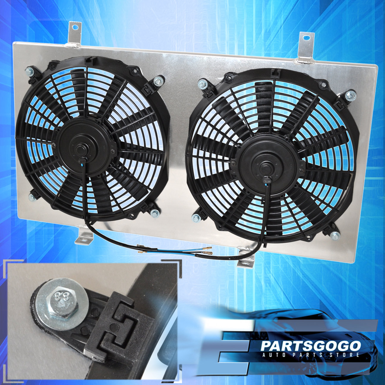 For 93-98 Toyota Supra Mt Jdm Aluminum Radiator Fan Shroud Kit Cooling System