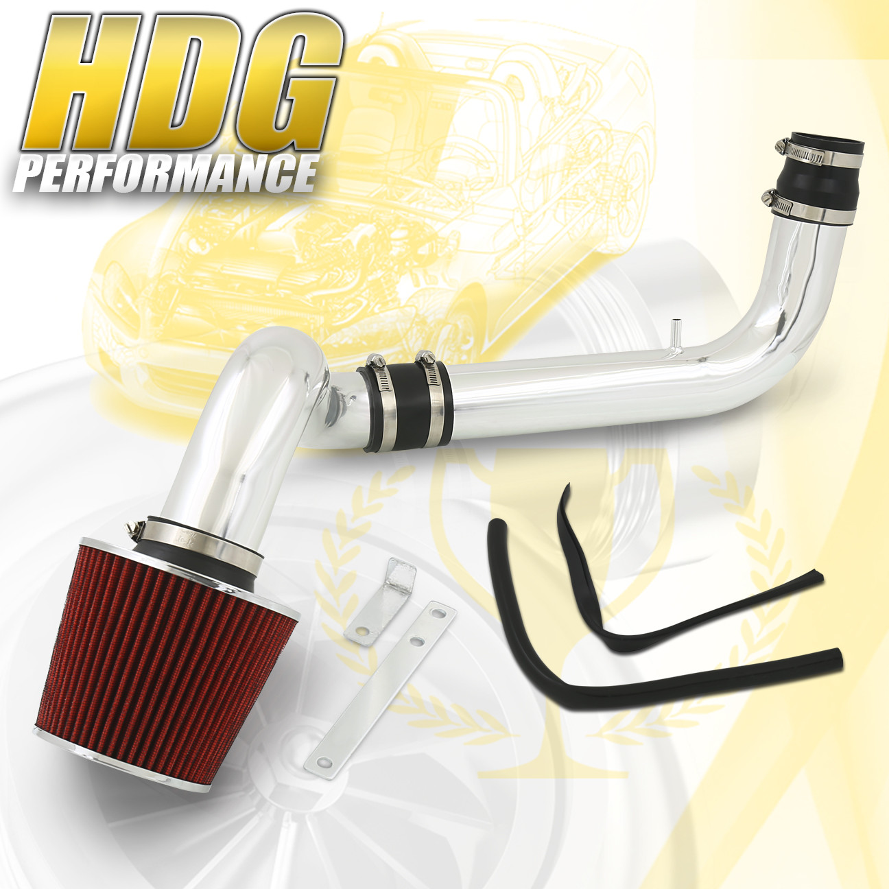 Black Filter for 94-01 Acura Integra DC2 GS LS RS Cold Air Intake Induction Kit