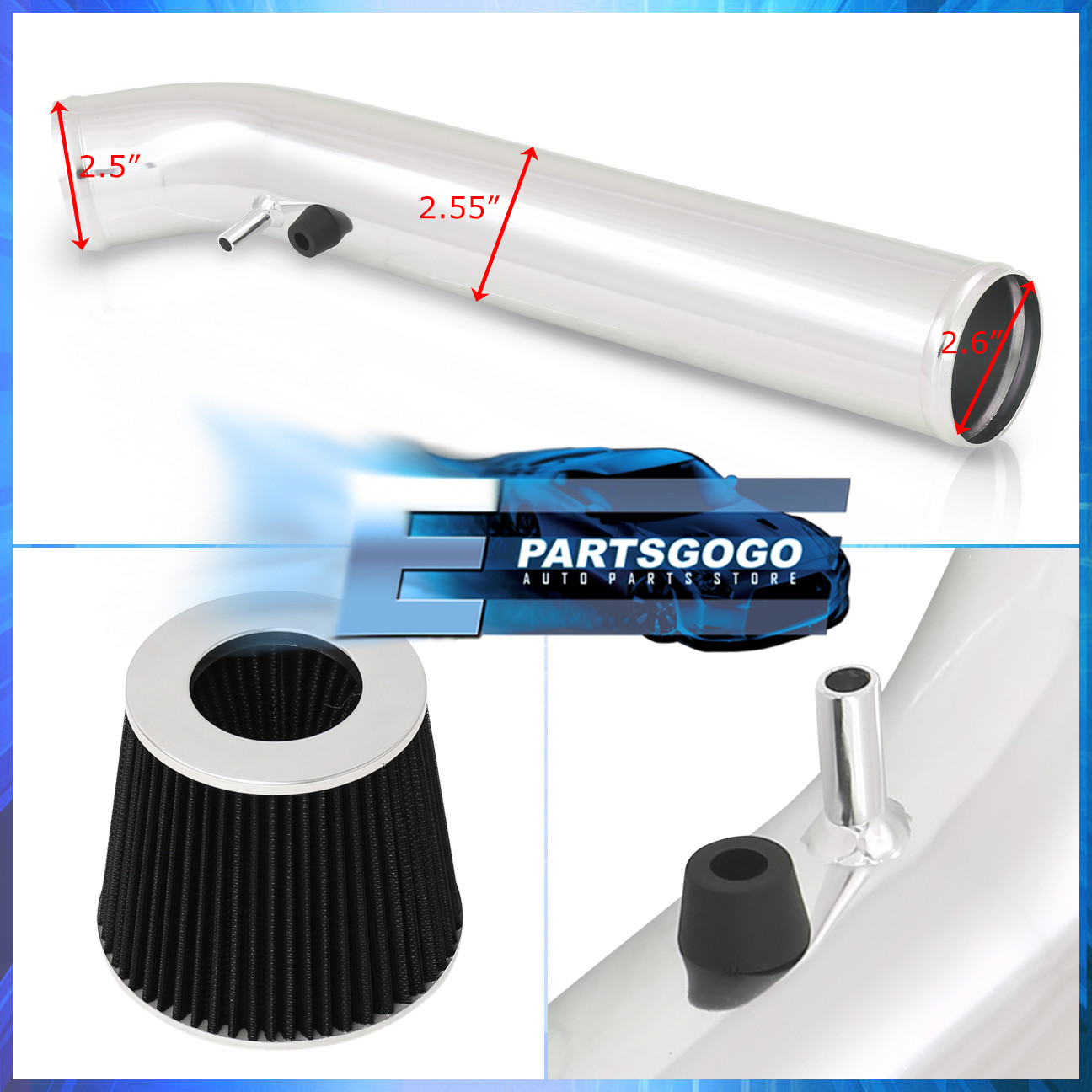 For 96-00 Honda Civic EX Manual Transmission Polished Cold Air Intake System Kit