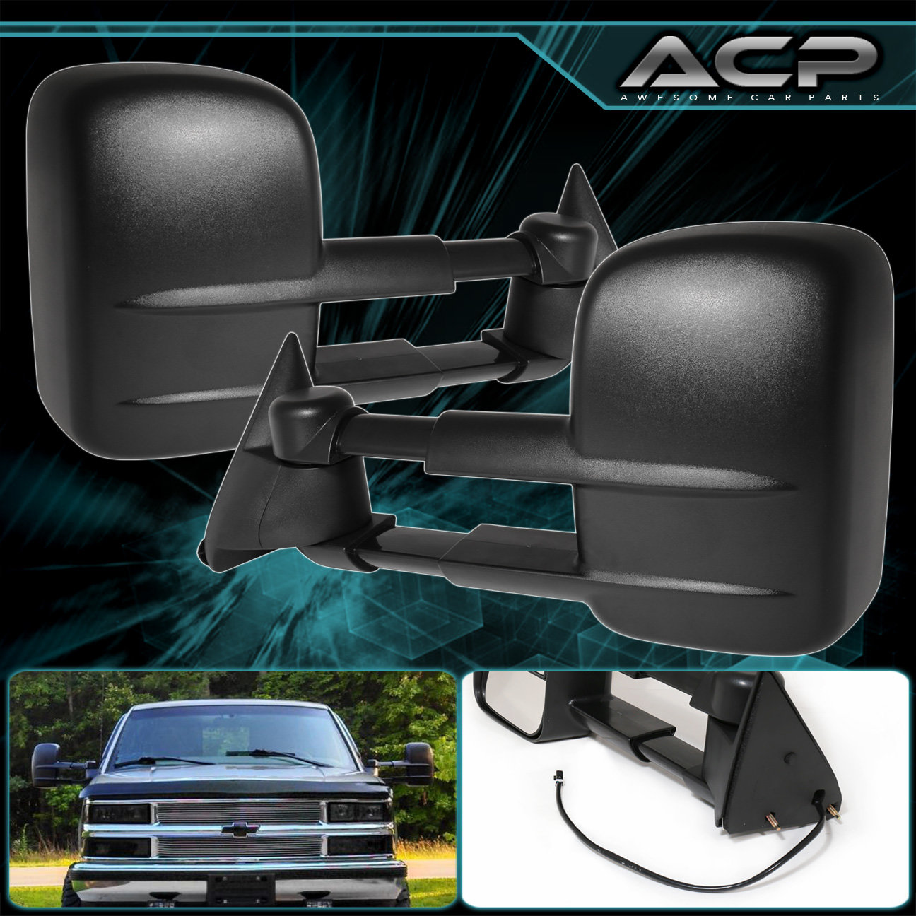 Pair Black Power Extend Towing Mirrors 1988 1998 Chevy Gmc C K 1500 2500 3500