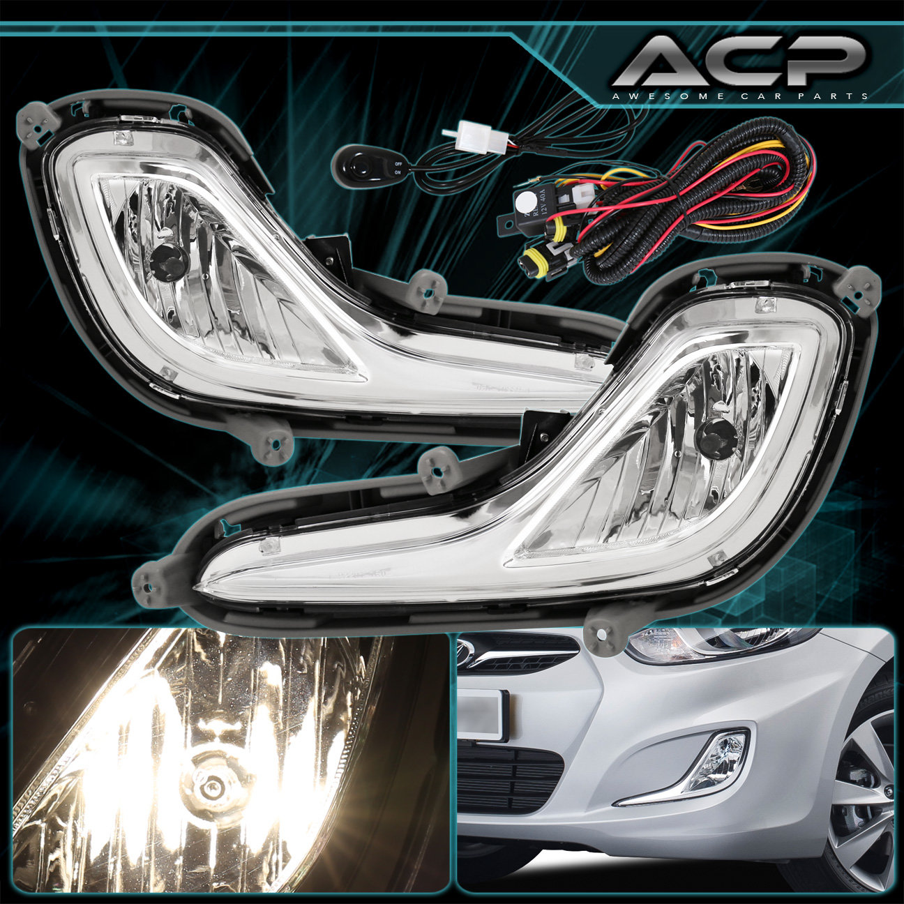For 2012-2016 Hyundai Accent RB Chrome Clear Fog Light Lamp Wire ...