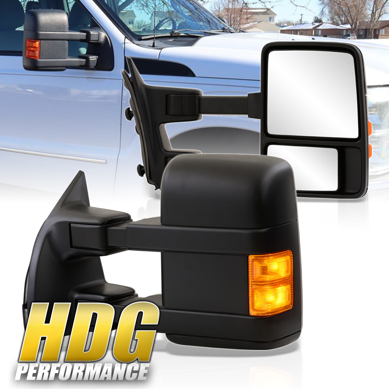 08-16 Ford F250//350//450//550 Extendable Led Heated Power Tow Mirror Black Pair
