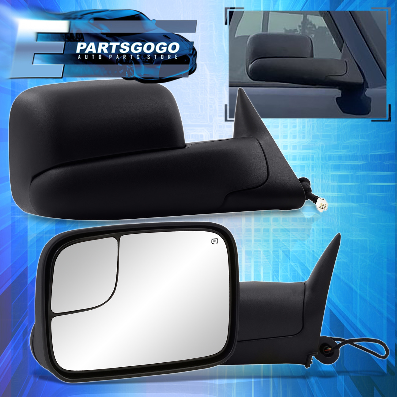 LH Side Tow Mirror Power Heated For 98-01 Ram 1500//98-02 2500 3500 Manual FlipUp
