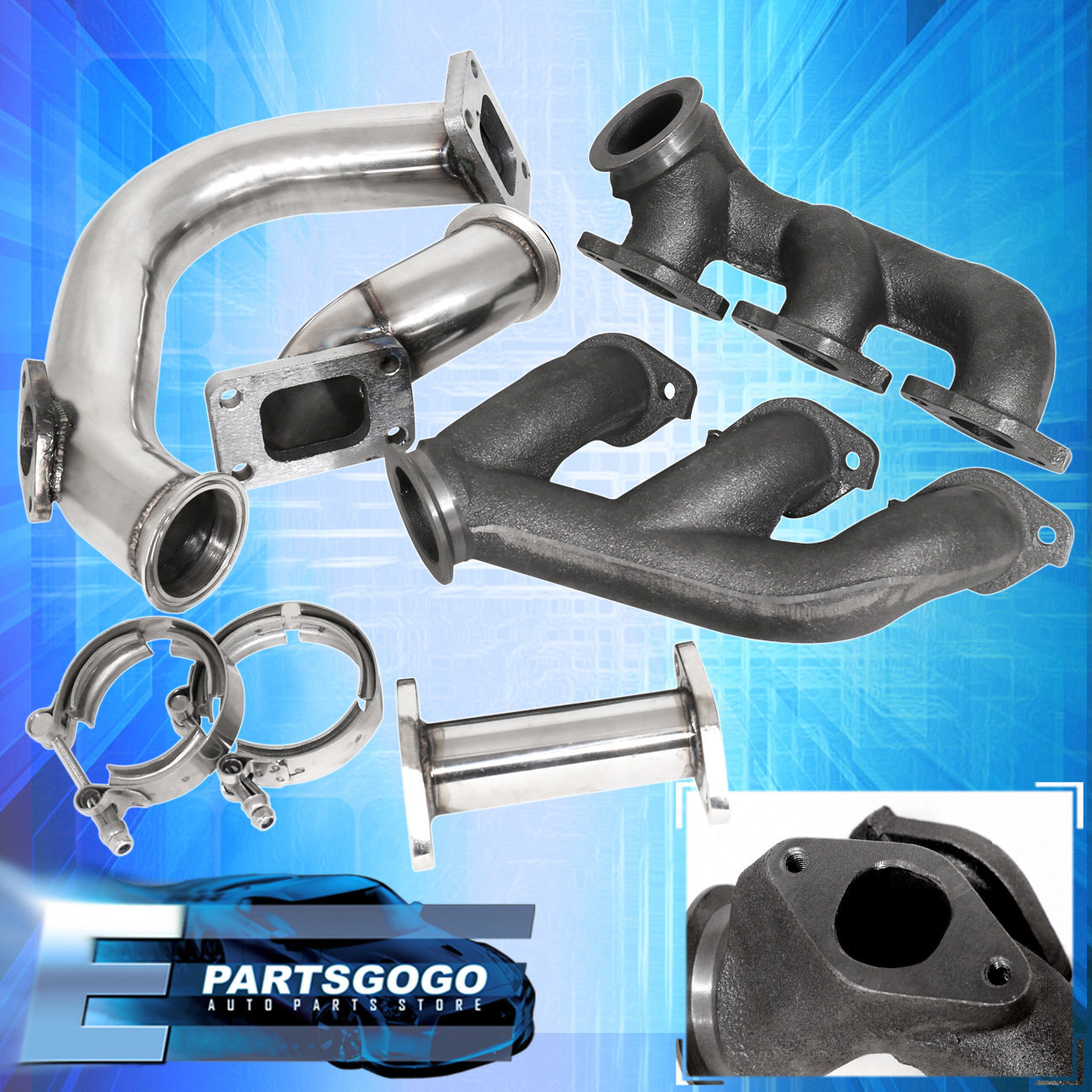 94 97 Mustang V6 3 8l Turbo Kit Blue Set Intercooler Downpipe Piping