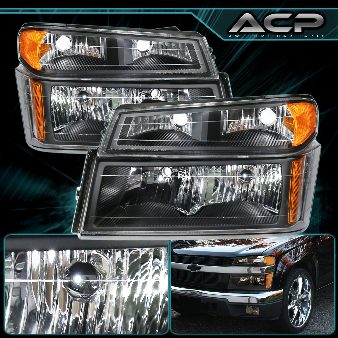 Details About Black Housing Headlight Per Corner Amber For 04 12 Chevy Colorado Gmc Canyon