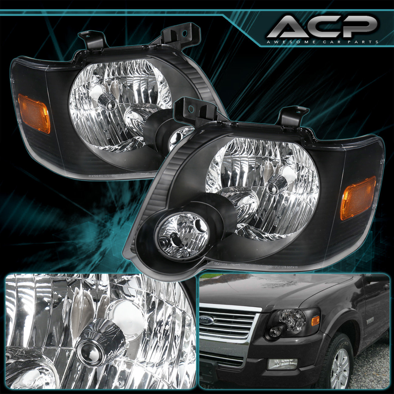 Details About Black Housing Headlight Per Corner Amber For 06 07 08 09 10 Ford Explorer