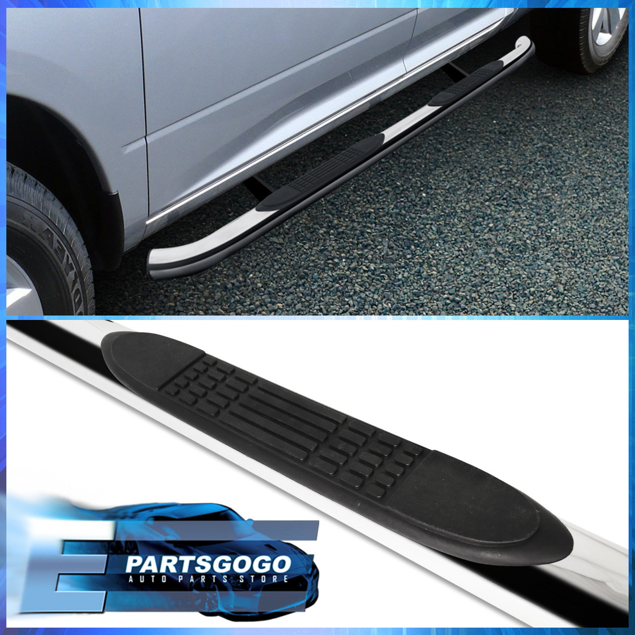 "For 2007-2014 Ford Edge 4/"" Stainless Chrome Side Step Nerf Bars Running Boards"