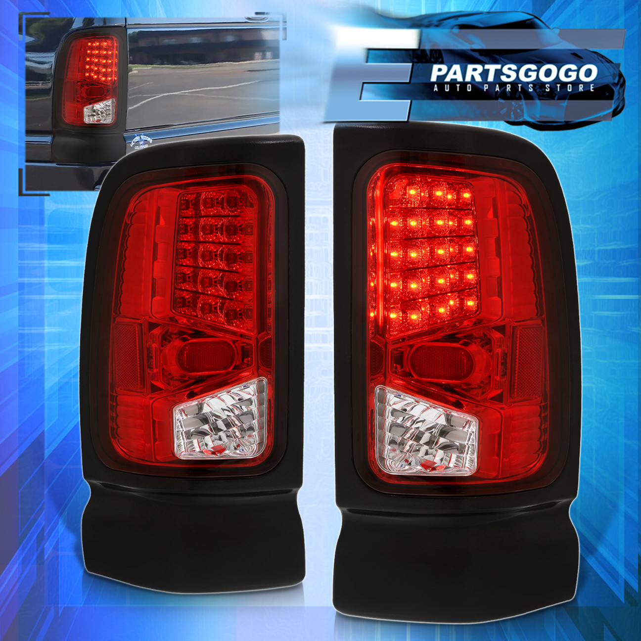 Details About 1994 2002 Dodge Ram 1500 2500 3500 Chrome Housing Led Red Lens Tail Lights