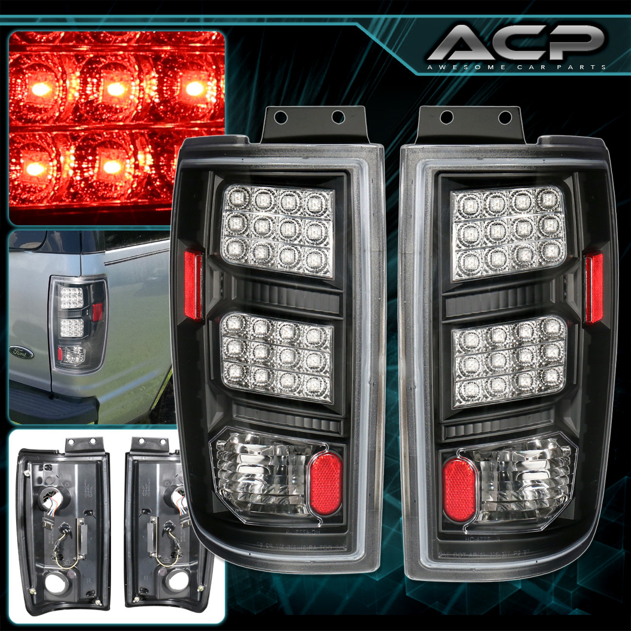 Details About Black Housing Clear Lens Led Tail Lights Lamps For 97 02 Ford Expedition