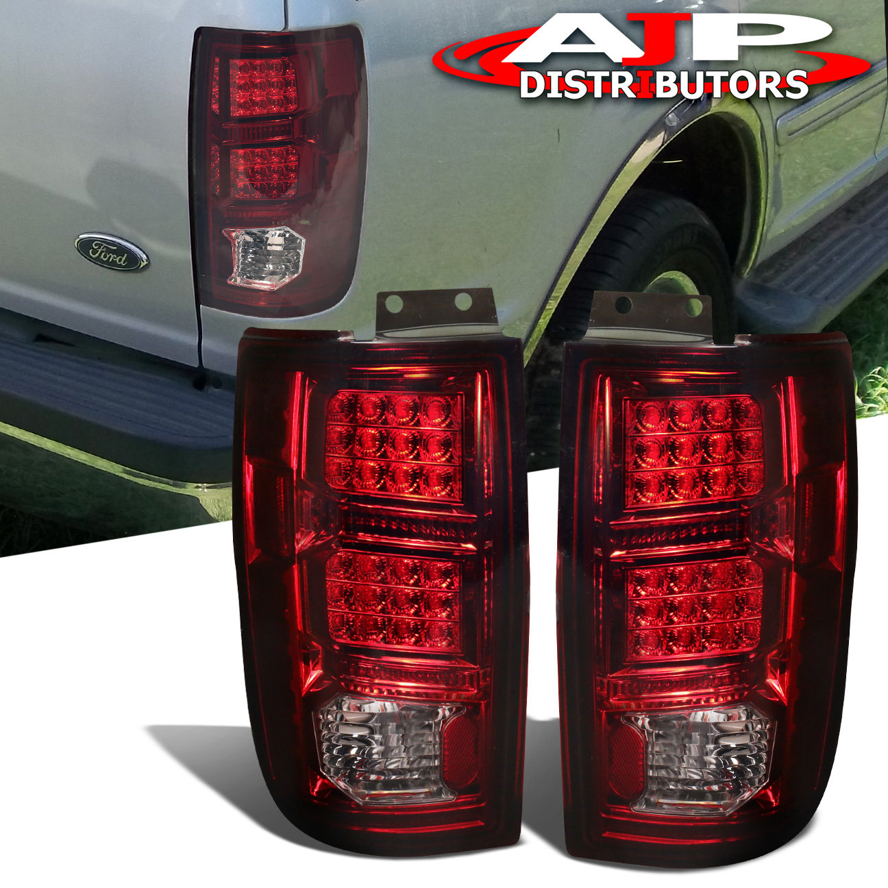 Details About 97 02 Ford Expedition Led Tail Lamps Lights Brake Chrome Housing Red Smoke Lens