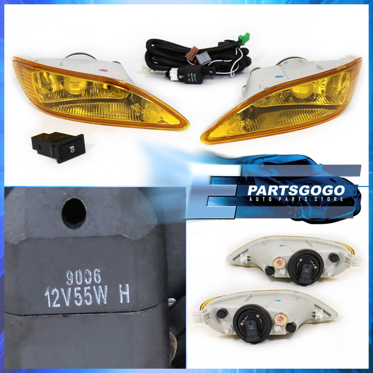For 05-08 Corolla Yellow Lens Front Bumper Driving Fog ...