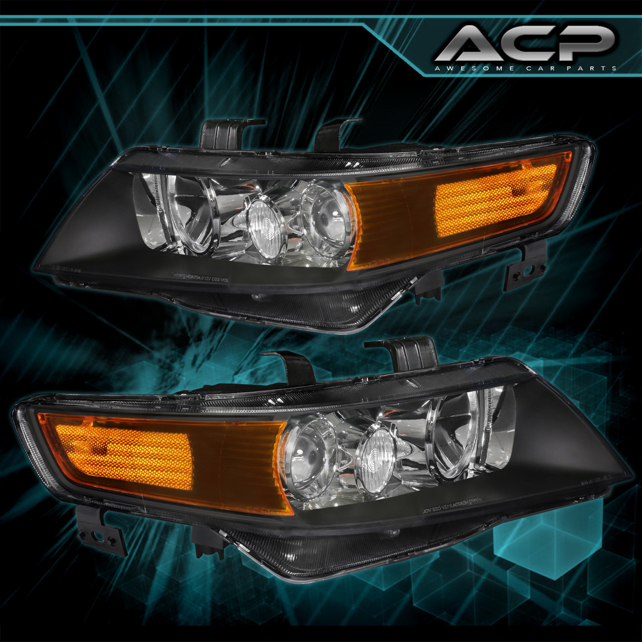 For 2004 2005 2006 2007 2008 Acura Tsx Black Projector