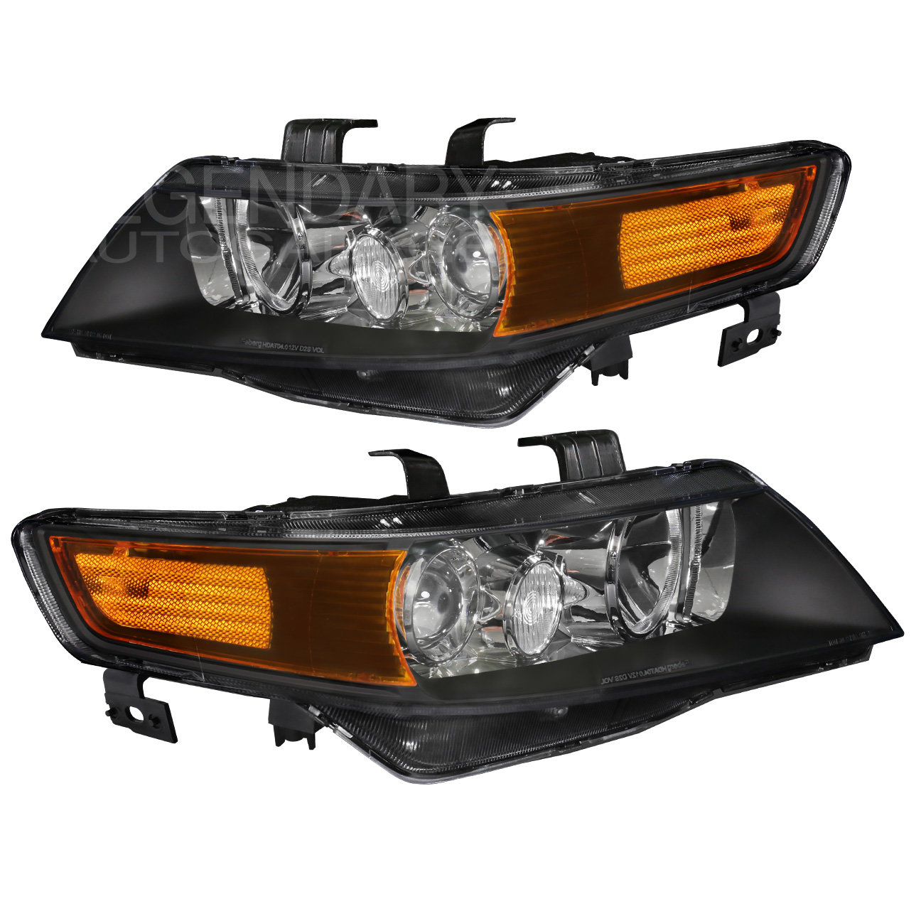 For 04-08 Acura Tsx Black Housing Amber Reflectors Front