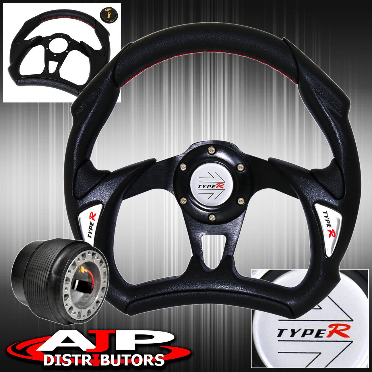 Hub Adapter Pvc Leather Black Battle Style Steering Wheel For 90