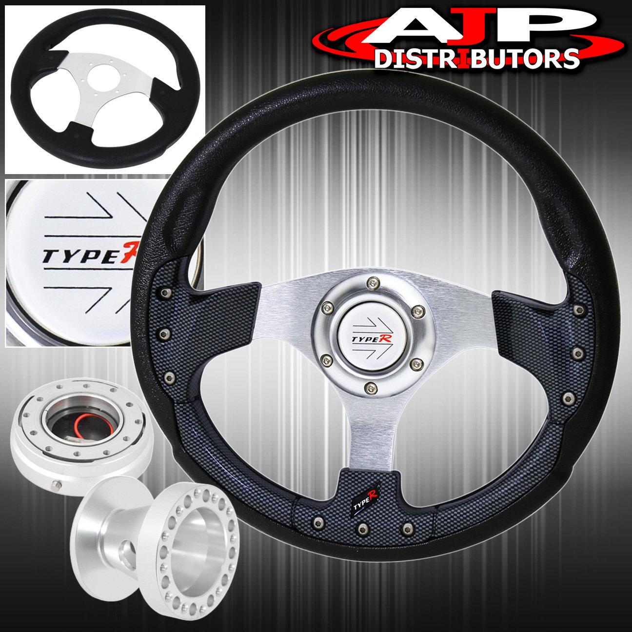 Black//Red 350mm Deep Dish Steering Wheel /&Hub Adapter Honda Civic 1992-1995 EG