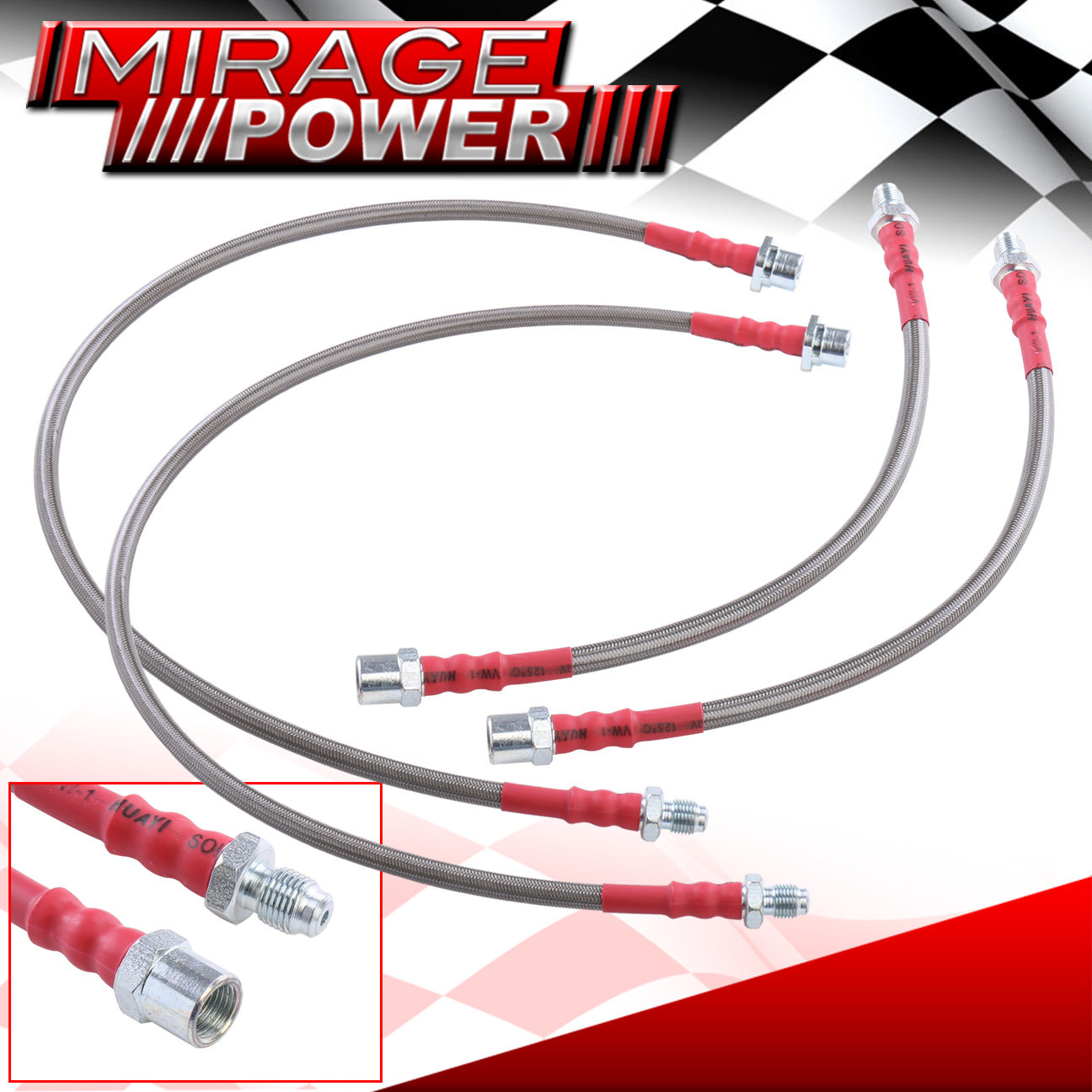 2004-2010 BMW E60 Front Rear Red Stainless Steel Hose Oil Brake Line Cable Black