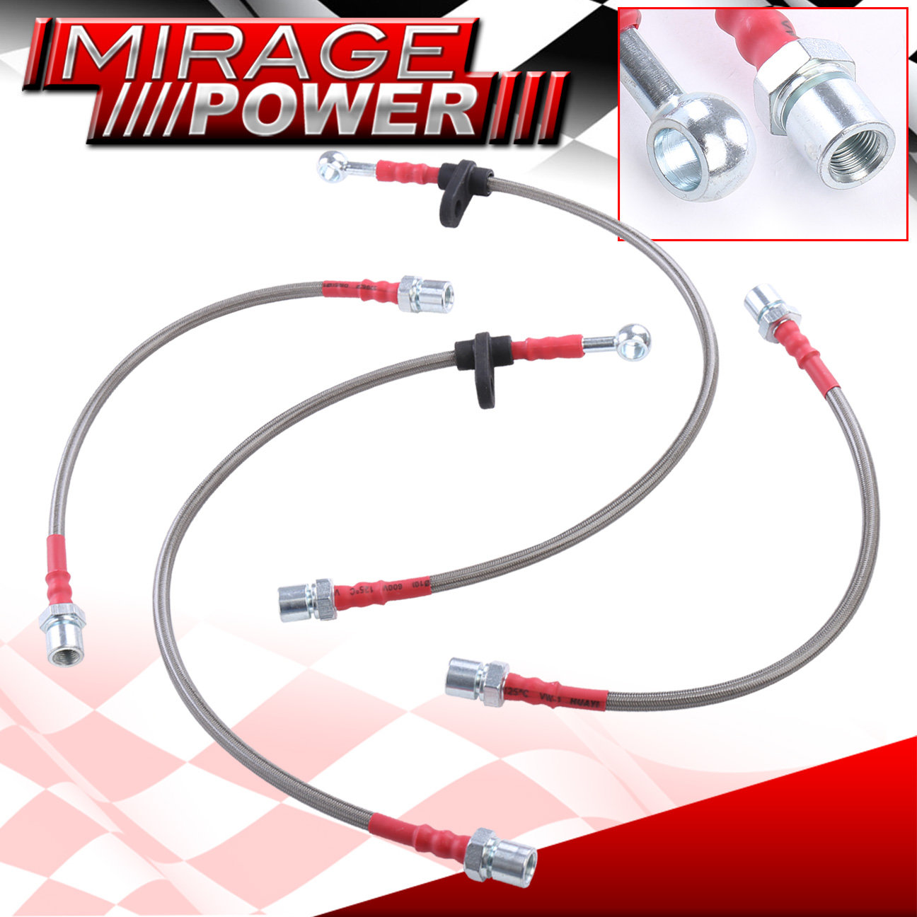 For Toyota Corolla AE98 Front Rear Red Stainless Steel Braided Oil Brake Line Cable Hose Black End Cap