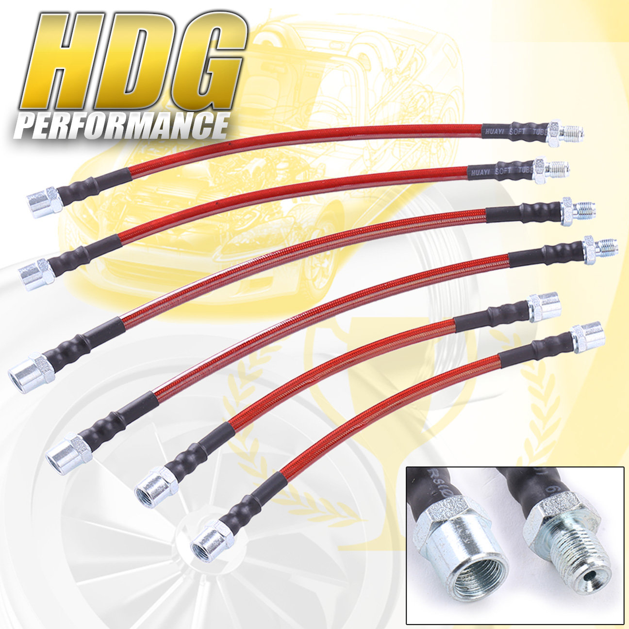 Steel Braided Brake Lines Go Kart : For bmw e red cable stainless steel braided oil