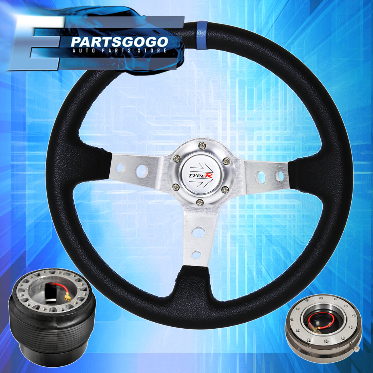SILVER DEEP DISH STEERING WHEEL QUICK RELEASE HUB KIT FOR HYUNDAI ACCENT GENESIS
