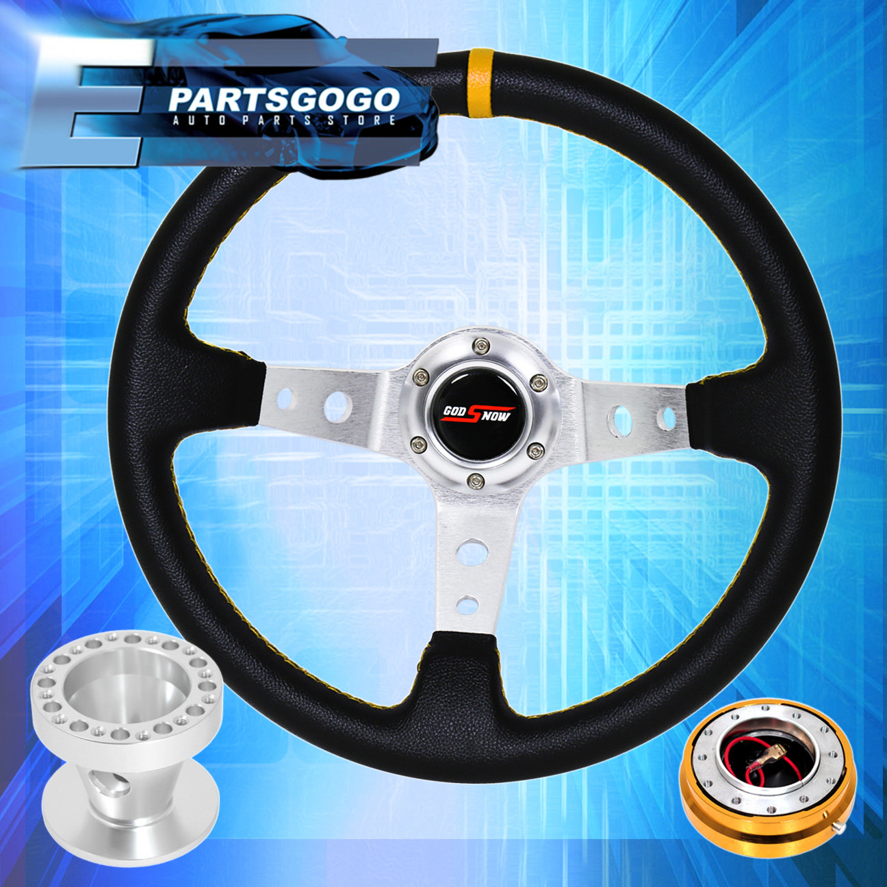 Deep Dish Black Steering Wheel + Gold Quick Release