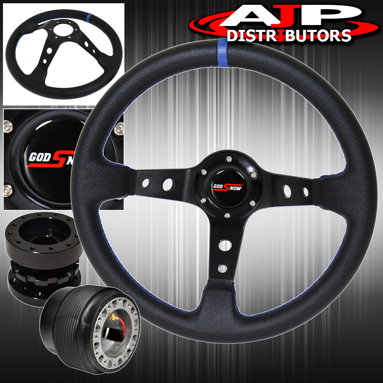 For 94-01 Integra Deep Dish Black Steering Wheel + Black