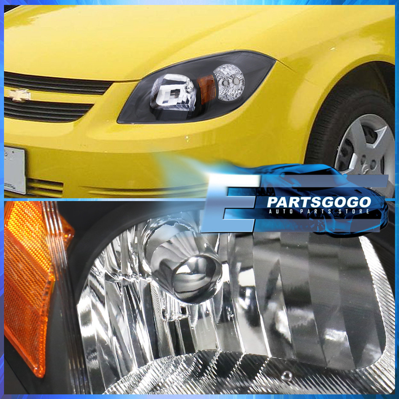 For 05-10 Chevy Cobalt Black Housing Amber Reflector Headlight ...