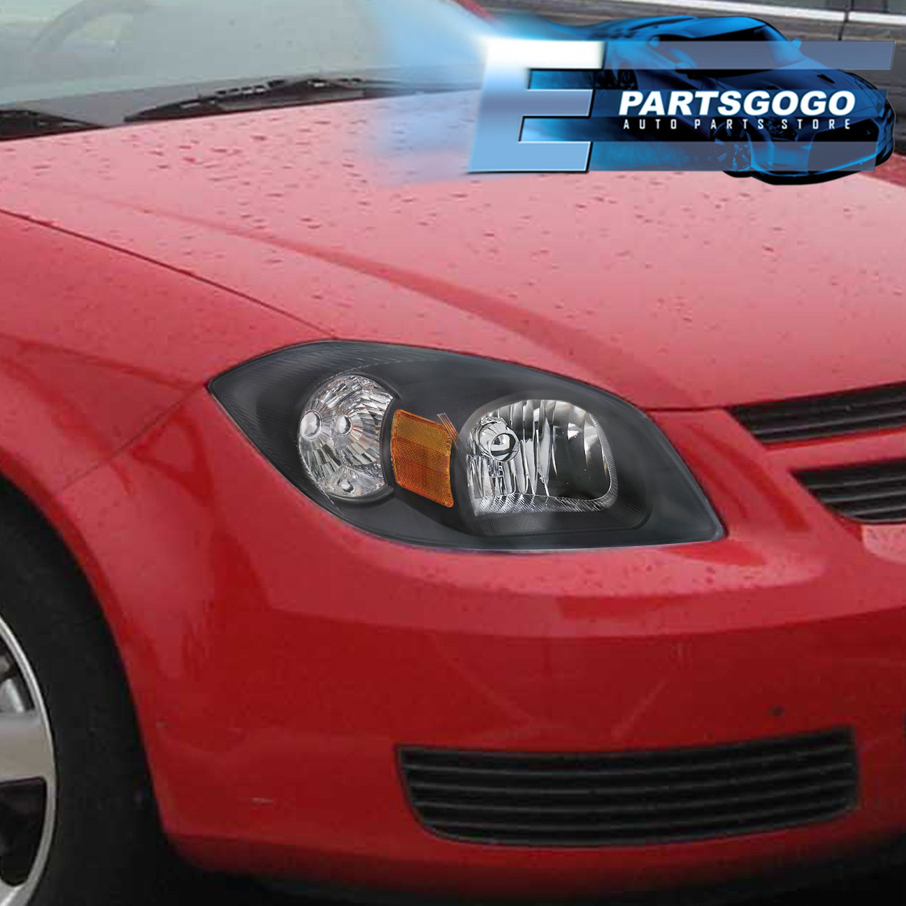 For 05 10 Chevy Cobalt Black Housing Amber Reflector Headlight Replacement