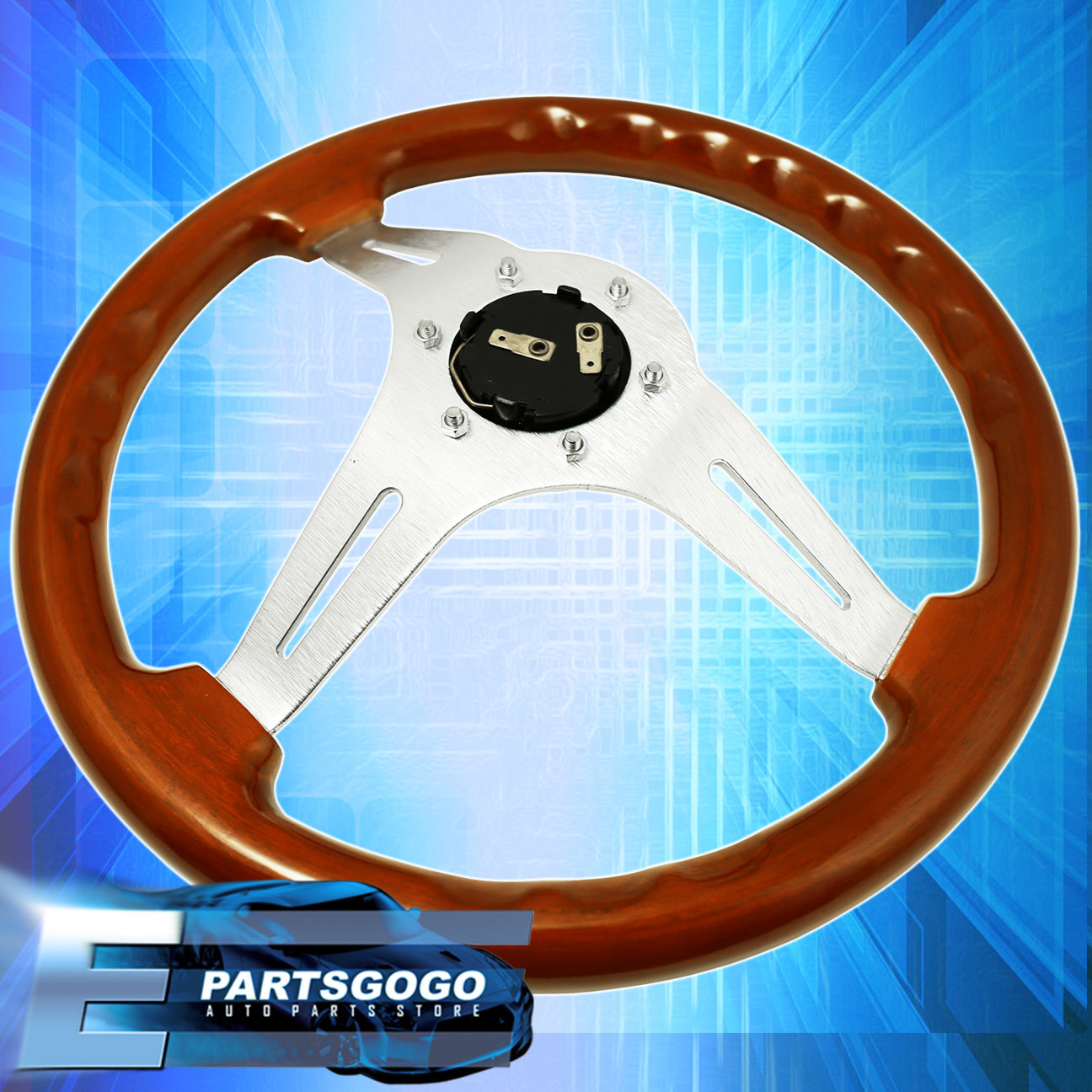 Light Wood Deep Dish Steering Wheel + Quick Release