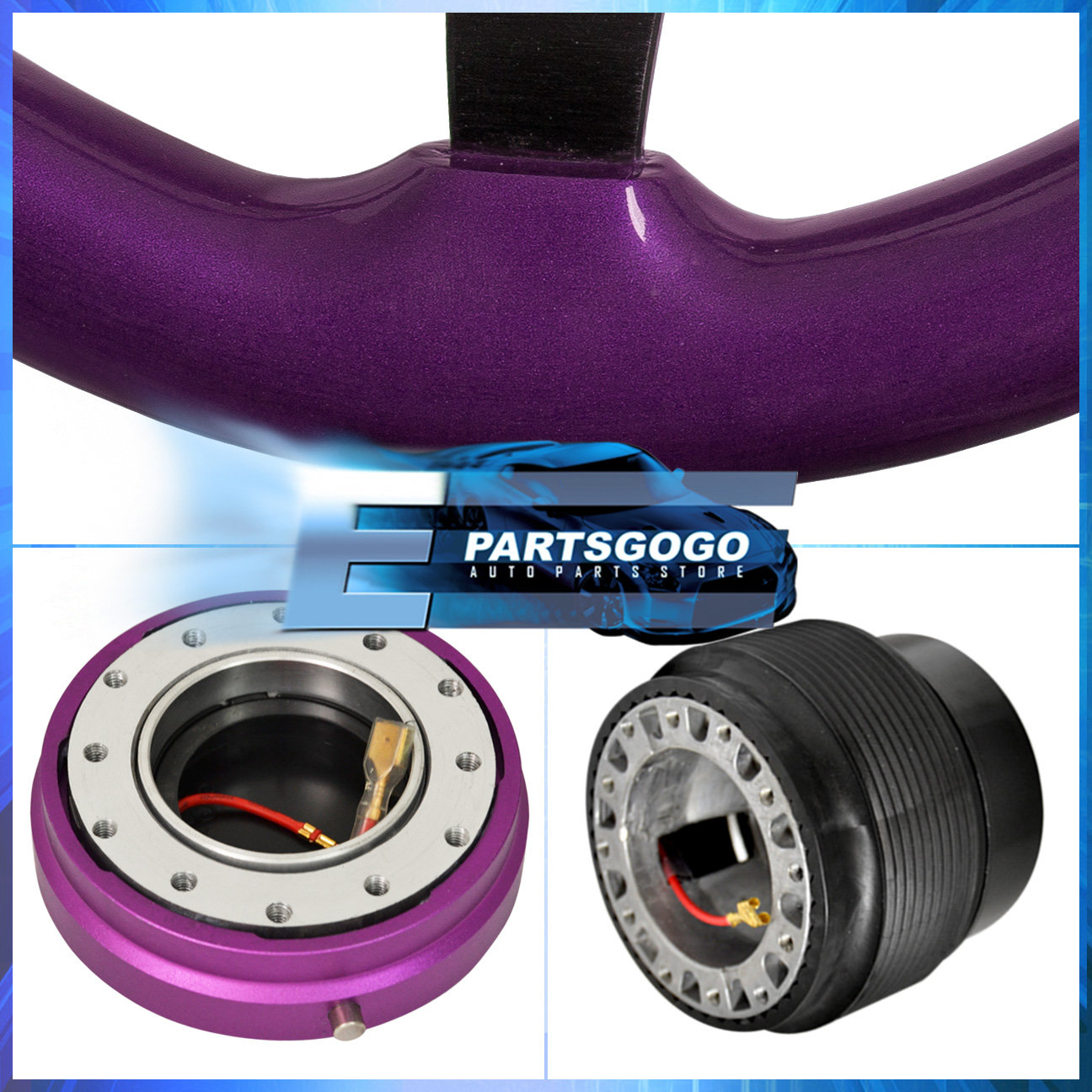 Purple Wood Trim Deep Dish Steering Wheel + Slim Quick