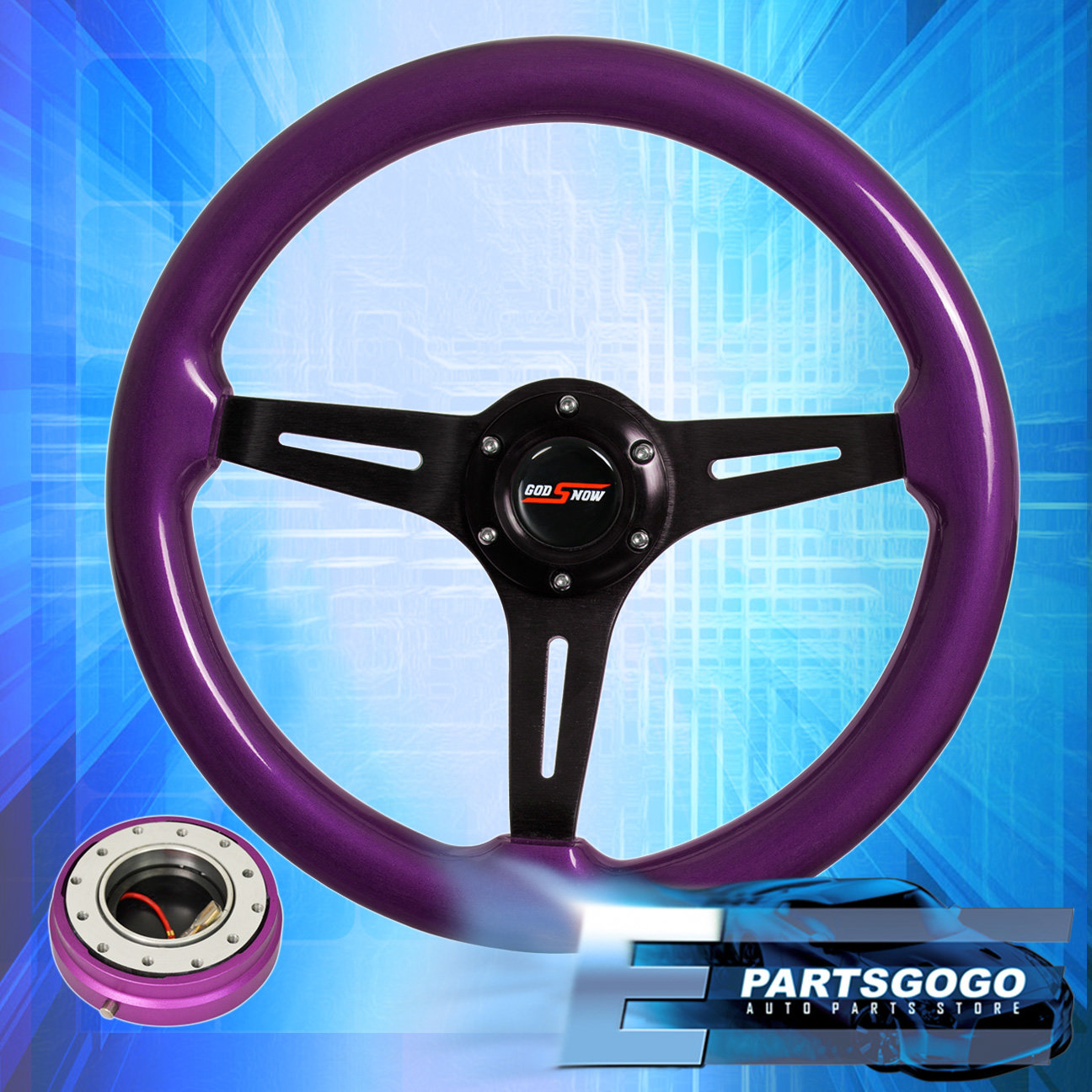 Purple Wood Deep Dish Steering Wheel Purple Quick Release For 90-97 Miata