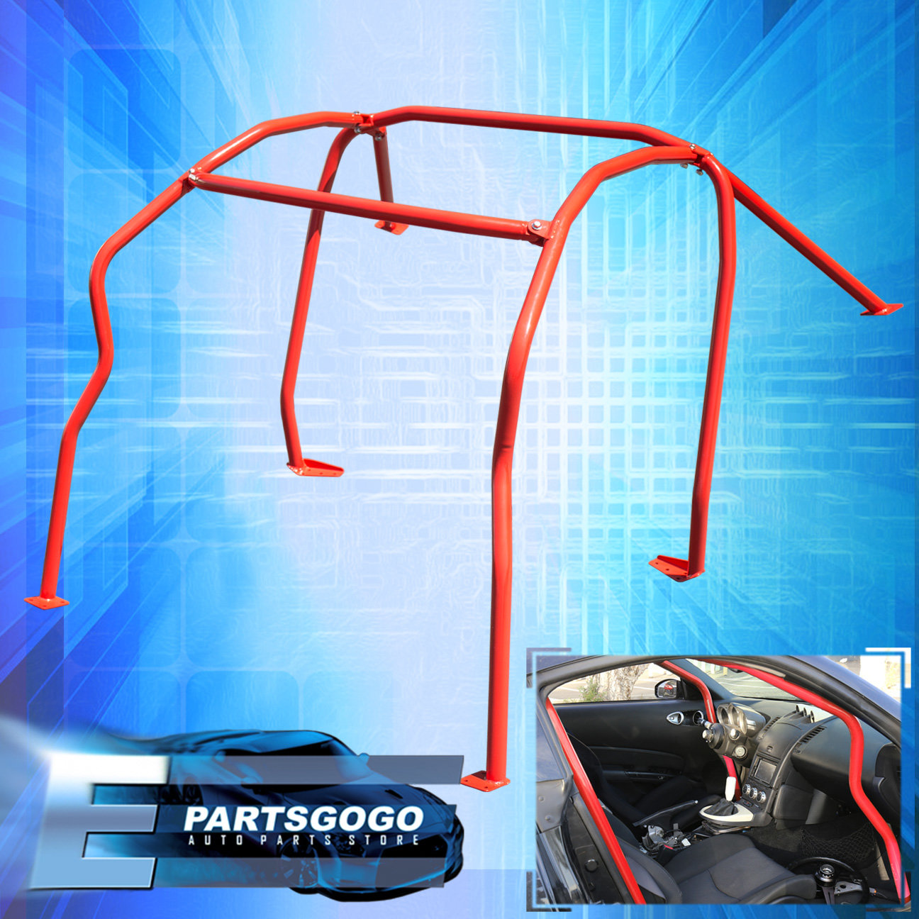 For 2003-2008 Nissan 350Z Z33 Full 6-Point Safety Bars Red Racing ...