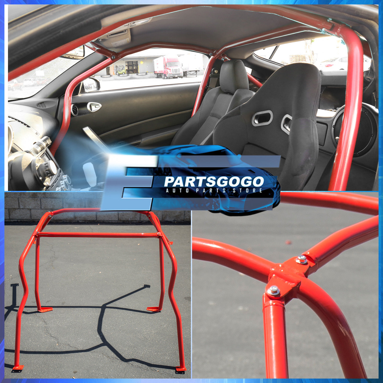 For 2003 2008 Nissan 350z Z33 Full 6 Point Safety Bars Red Racing Roll Cage