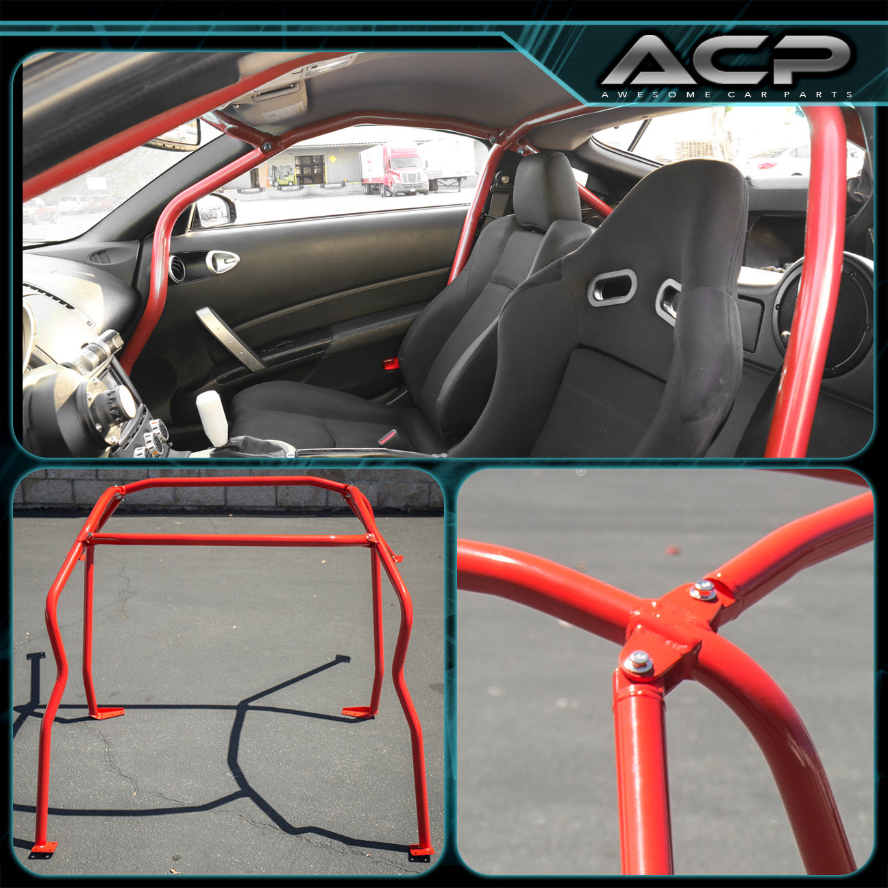 Full 6 Point Safety Bars Red Racing Roll Cage For 2003 2008 Nissan 350z Z33