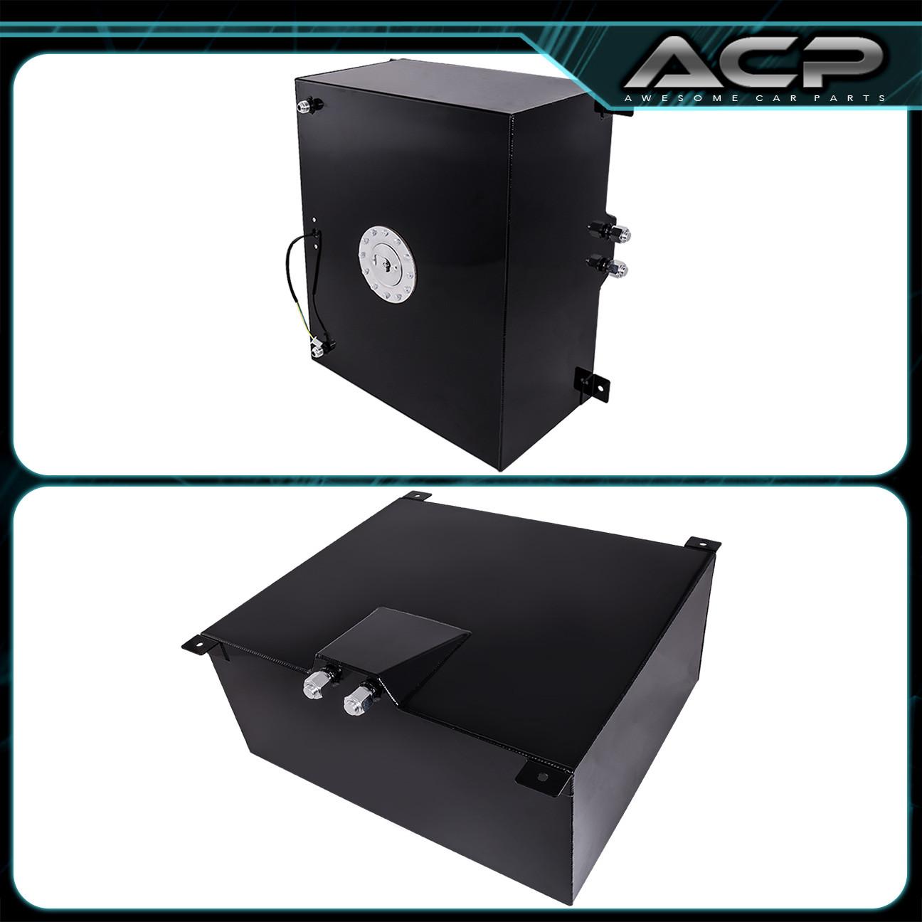 21 Gallon Black Aluminum Fuel Cell Tank With Gauge Sender Chrome Cap 80 Liter