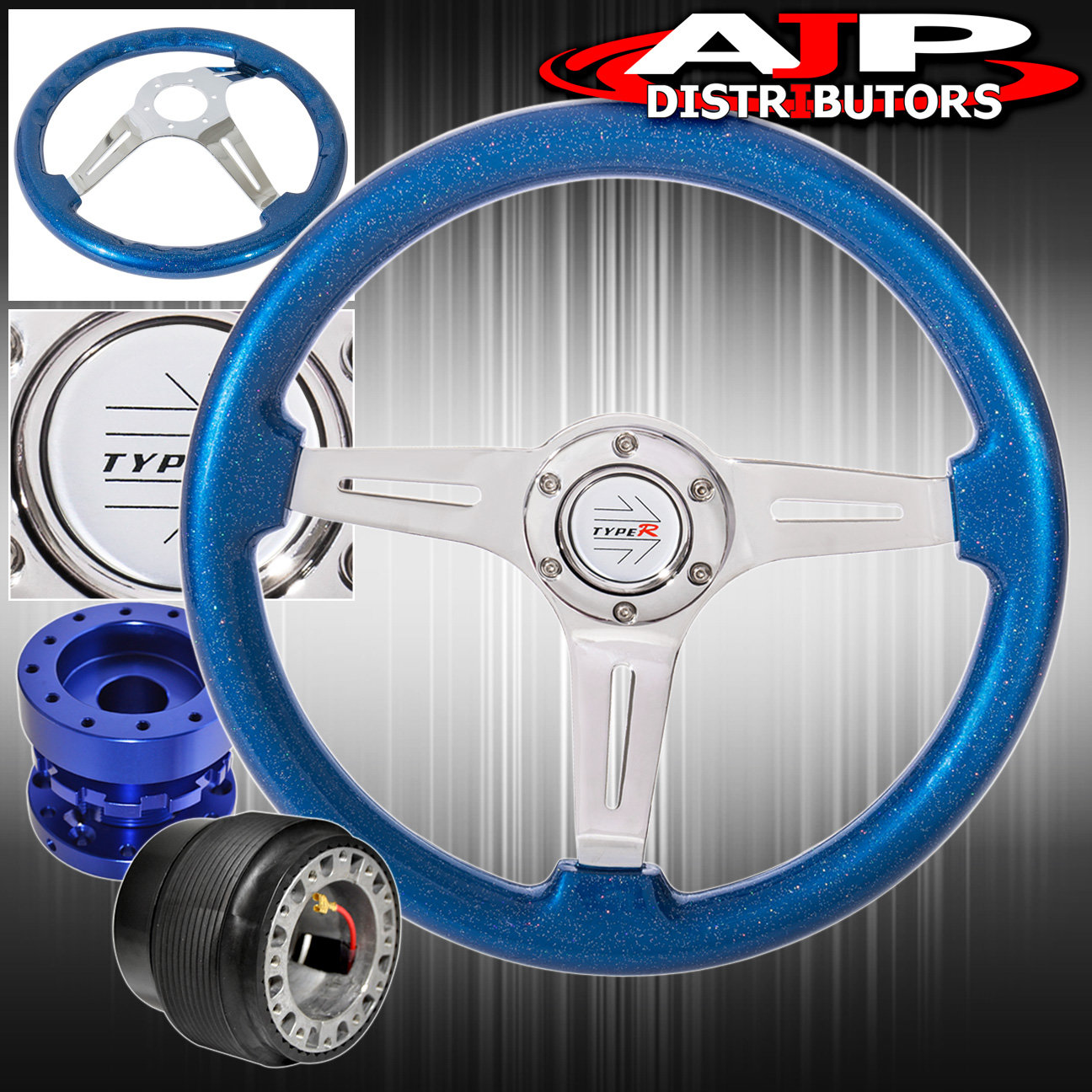 Metallic Ocean Blue Deep Dish Steering Wheel + Blue