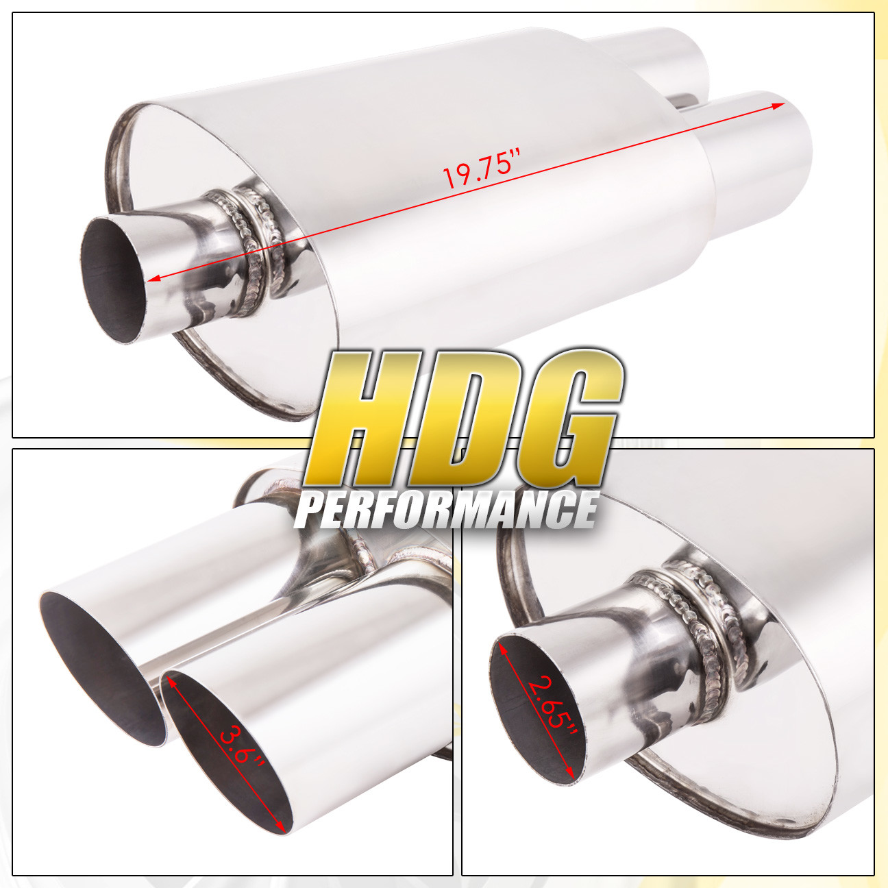 """UNIVERSAL JDM WELD ON 2.5/"""" INLET DUAL SQUARE TIP MUFFLER EXHAUST//CHROME CANISTER"""