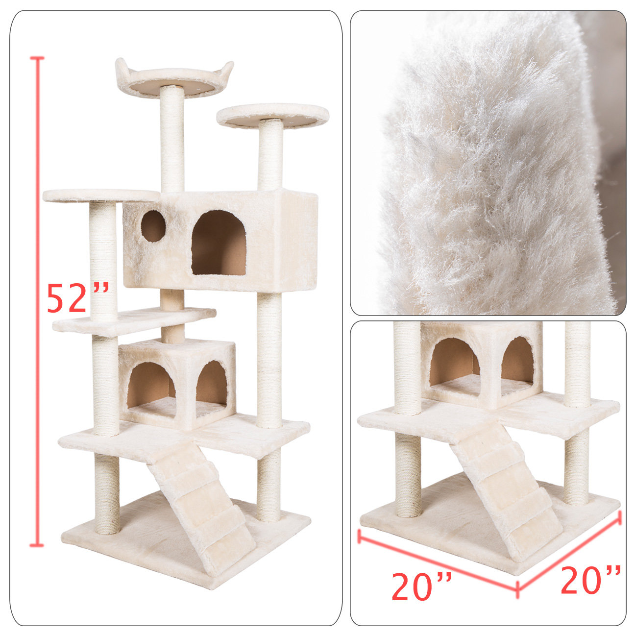 "Home Gym Furniture: 52"" Cat Tree Condo Furniture Scratch Post Pet Play House"