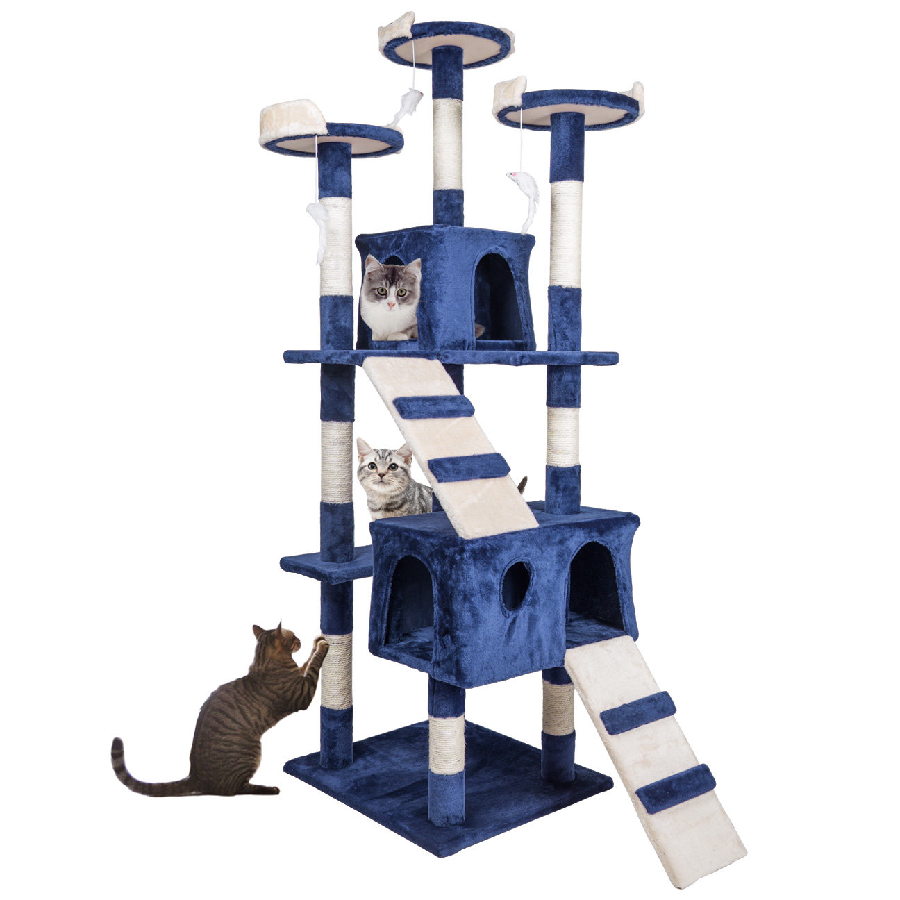 "Home Gym Furniture: 68"" Cat Tree Condo Furniture Scratch Post Pet Play House"