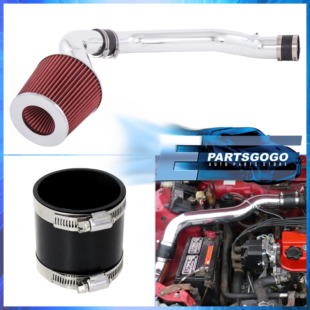 For 88-91 Honda Civic Ex Rt Crx Si 1.6-1.5L Cold Air Intake Kit Red Filter