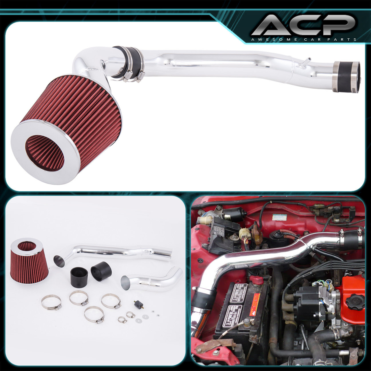 "For 88-91 Honda Civic Crx 1.6L 1.5L 2.5/"" Cold Air Intake System W// Red Filter"