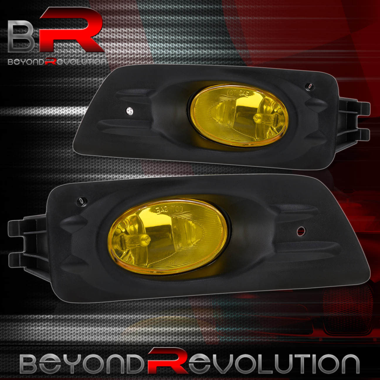 Yellow Lens Black Bezel Fog Lights For 06 07 Honda Accord