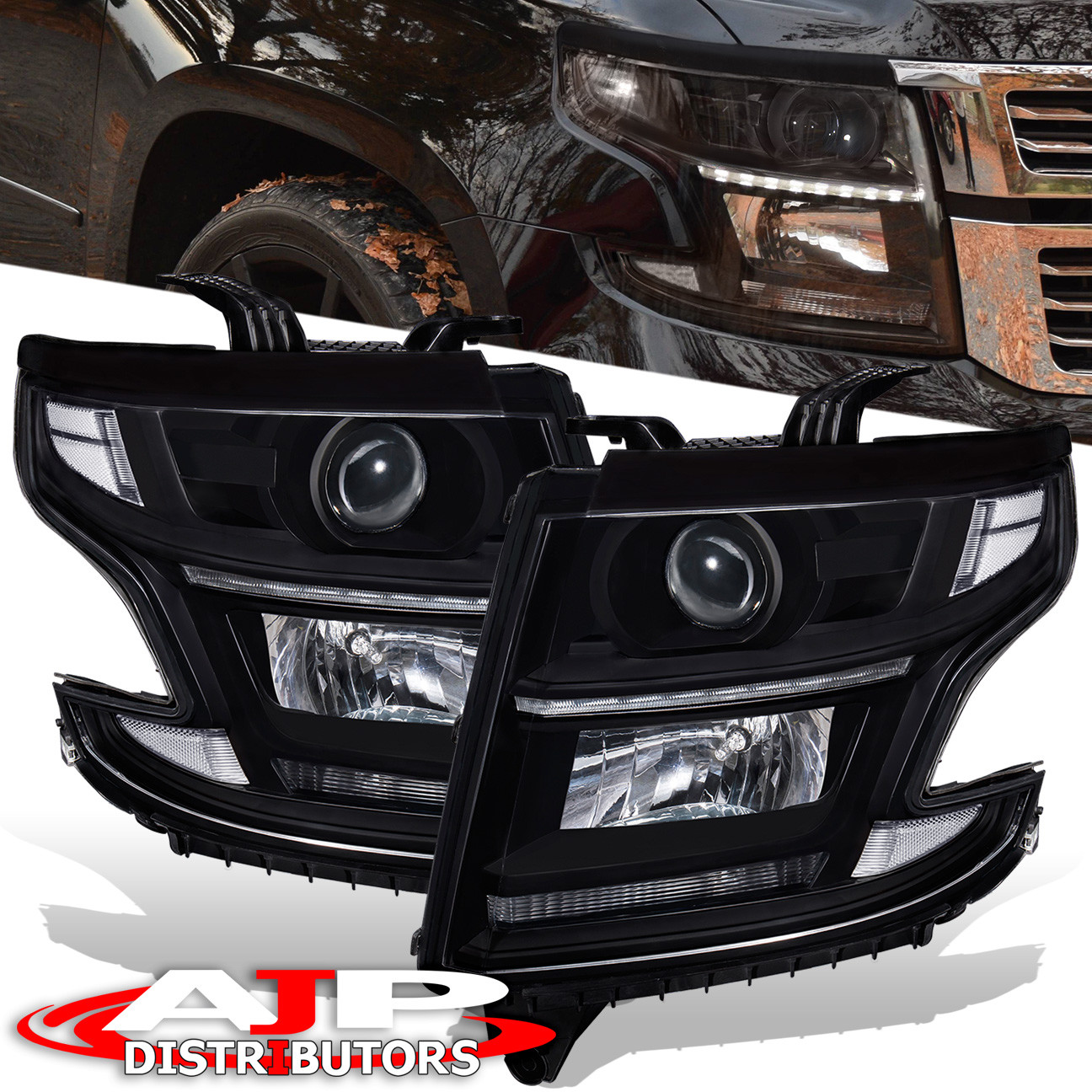 For 2017 Chevy Suburban Tahoe Black Clear Projector Led Drl Headlights