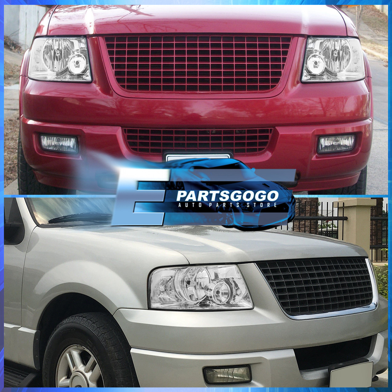 For 03 04 05 06 Ford Expedition Chrome Housing Smoke Lens Reflector Headlights