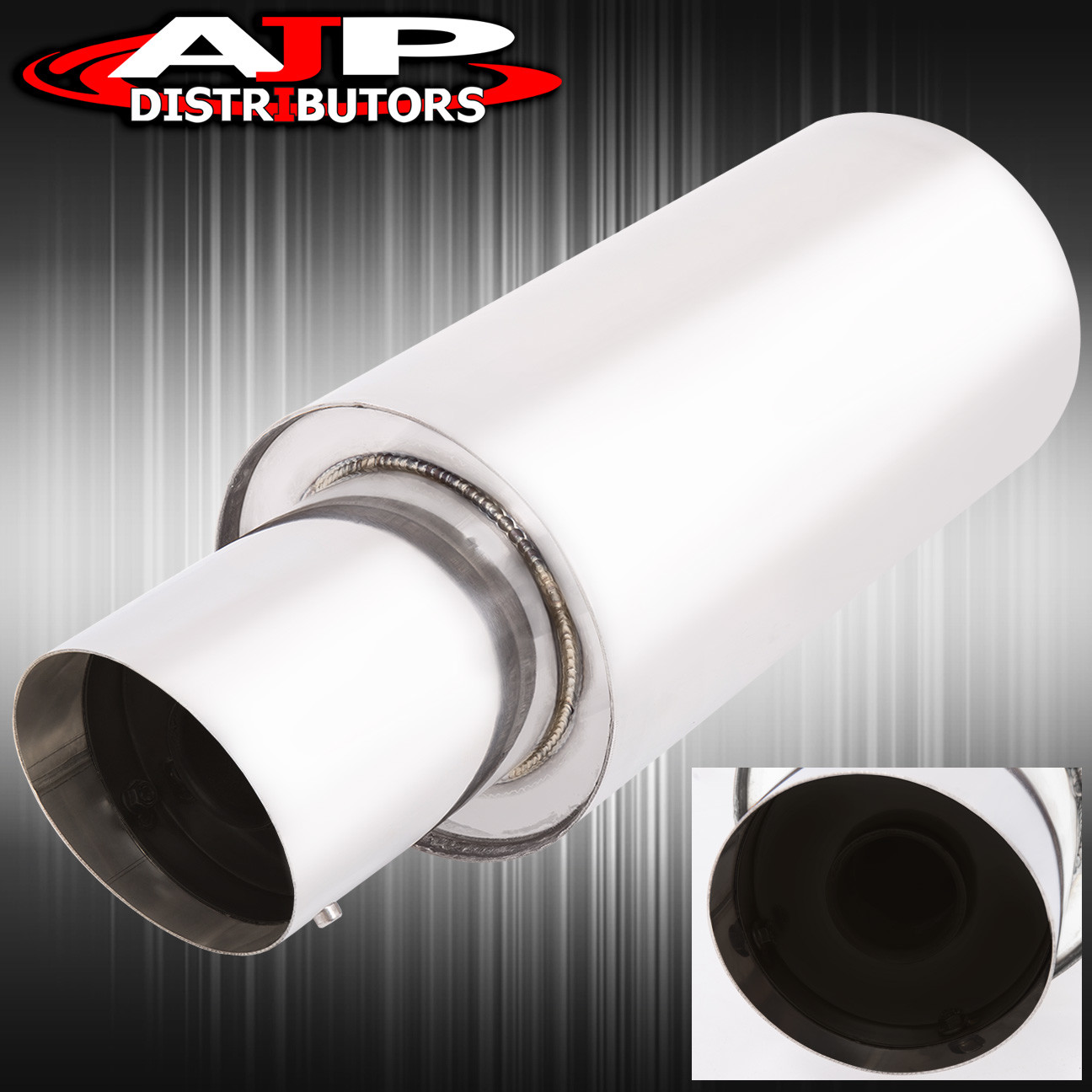 "4/"" Slant Cut Tip 2.5/"" Inlet N1 Style Stainless Steel Weld-on Muffler Universal 2"