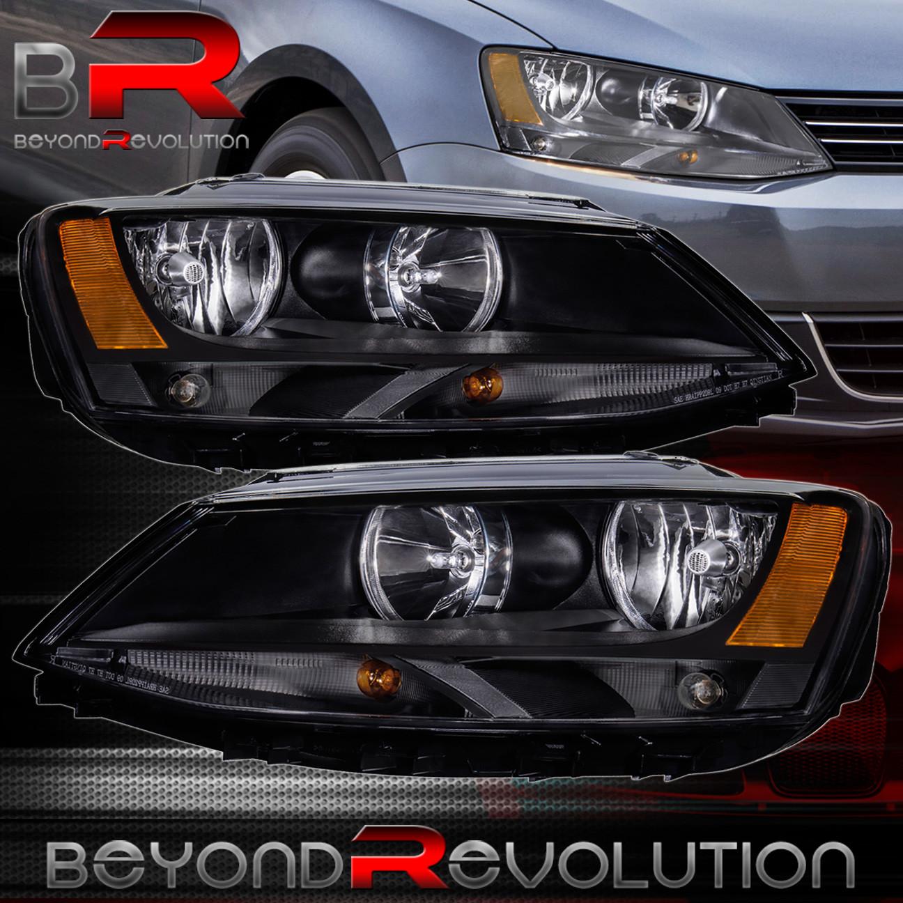 Black Amber Headlights For 2017 Volkswagen Jetta Mk6 Mkvi 11 17 Left Right