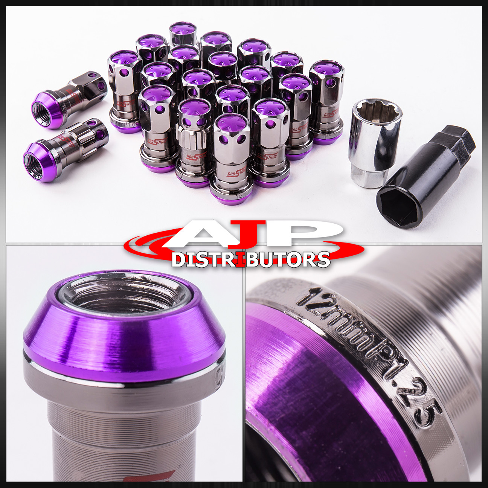 20 Piece M12X1.25Mm Thread Racing Tuner Wheel Rim Lug Nut Jdm God Snow Purple