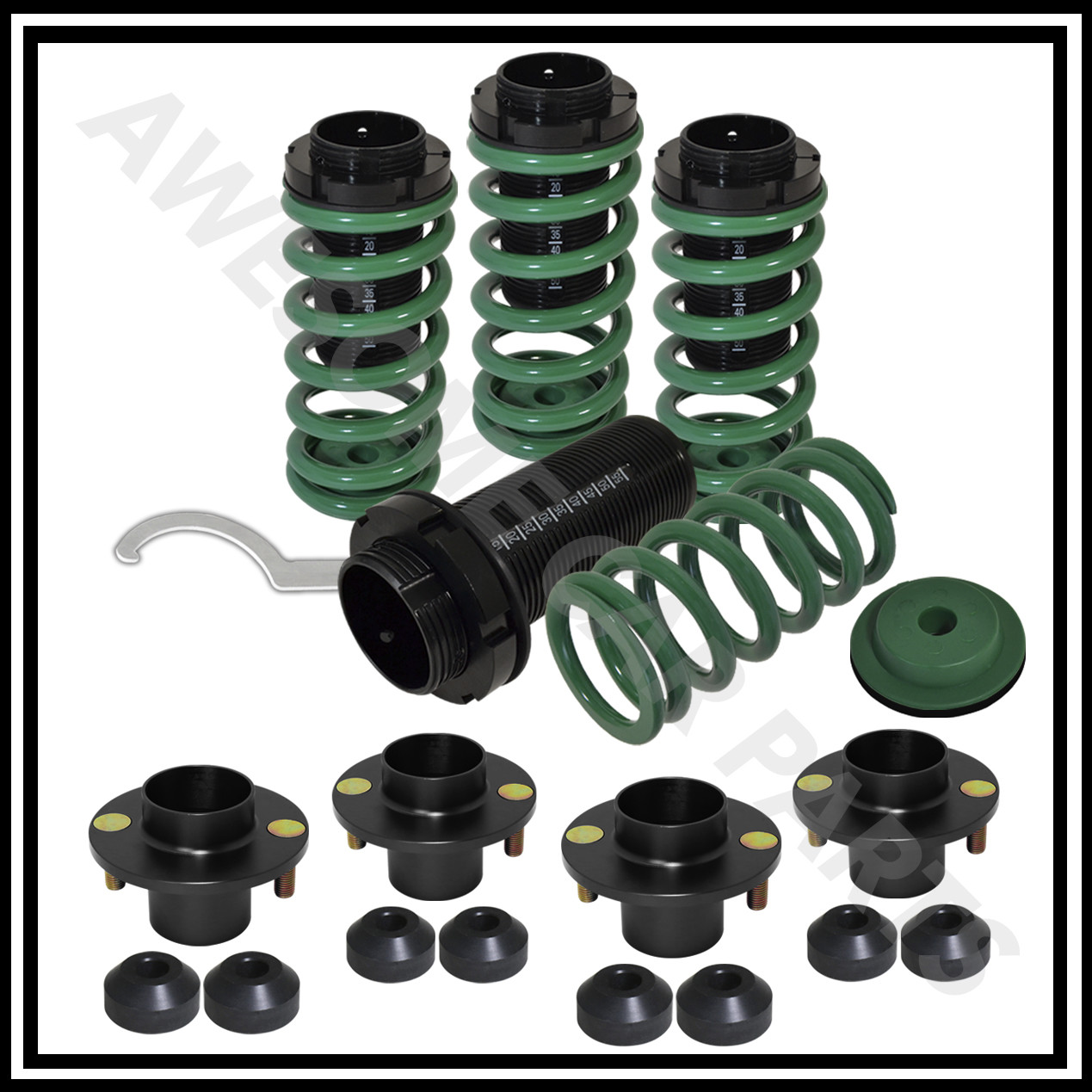 Coilover Top Hat: Green Coil Over Adjustable Spring Kit + Black Suspension